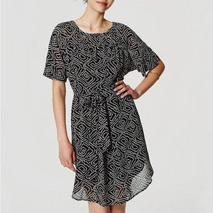 LOFT Women's Abstract Tie Waist Dress